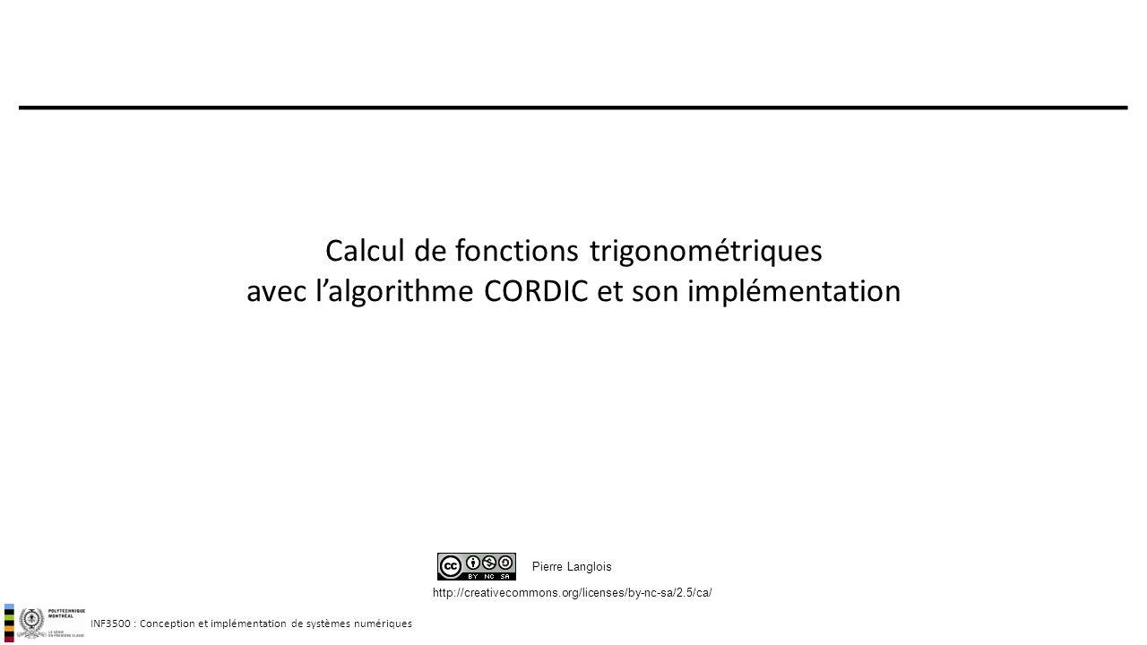 Calcul de fonctions trigonométriques avec l'algorithme CORDIC et son implémentation