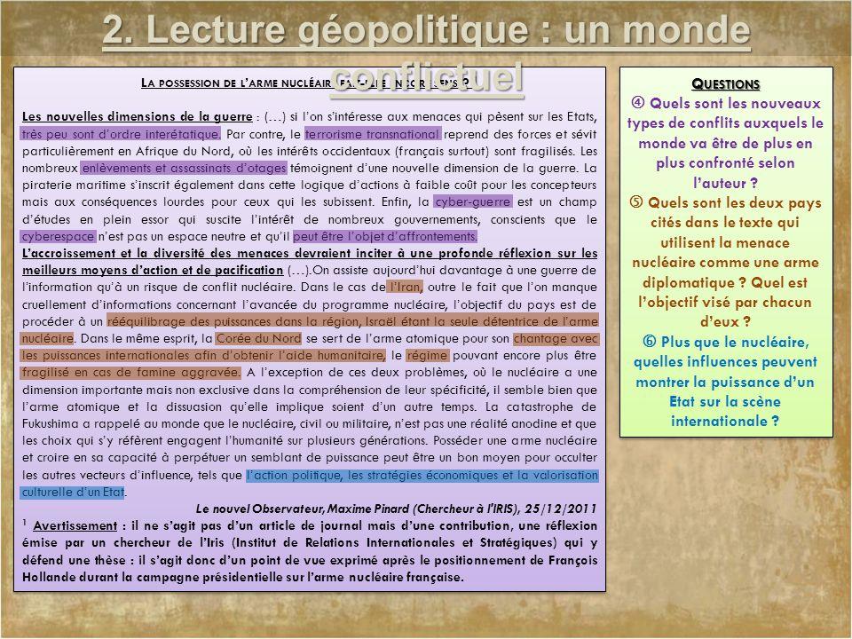 2. Lecture géopolitique : un monde conflictuel