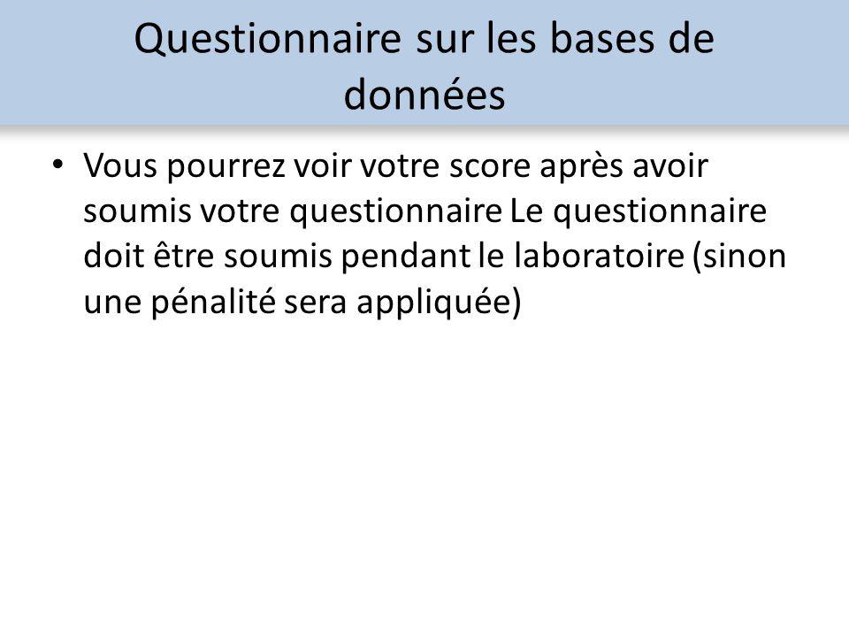 Questionnaire sur les bases de données