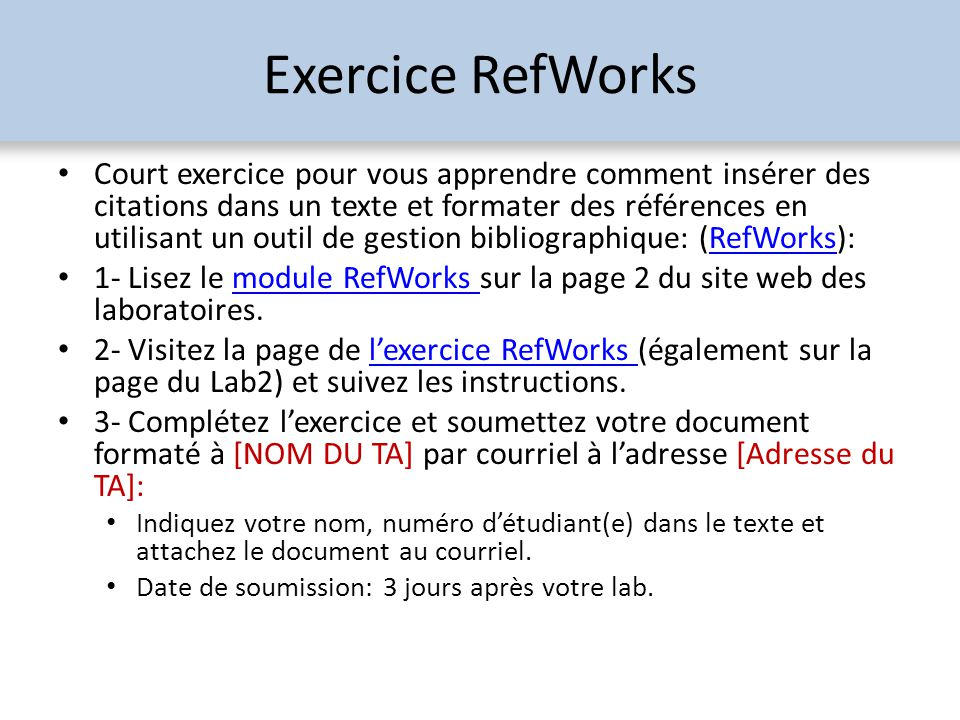 Exercice RefWorks