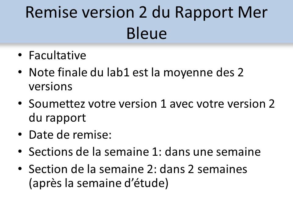 Remise version 2 du Rapport Mer Bleue