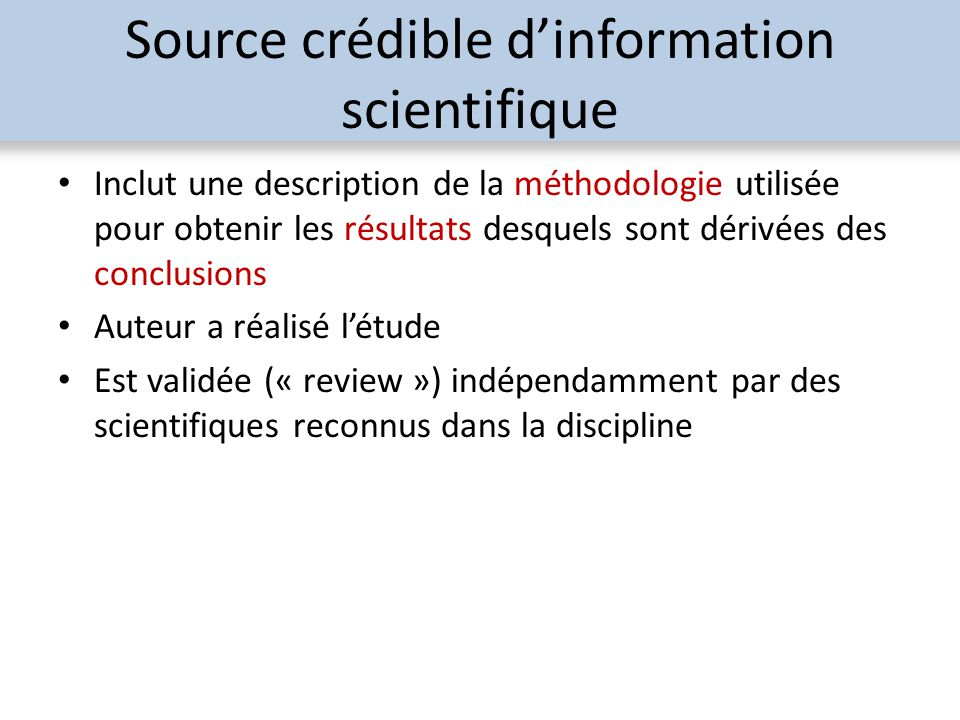 Source crédible d'information scientifique