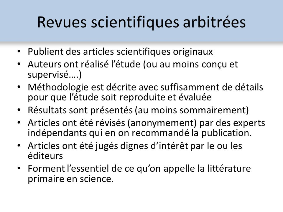 Revues scientifiques arbitrées