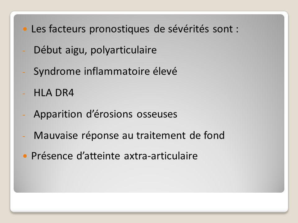 Les facteurs pronostiques de sévérités sont :