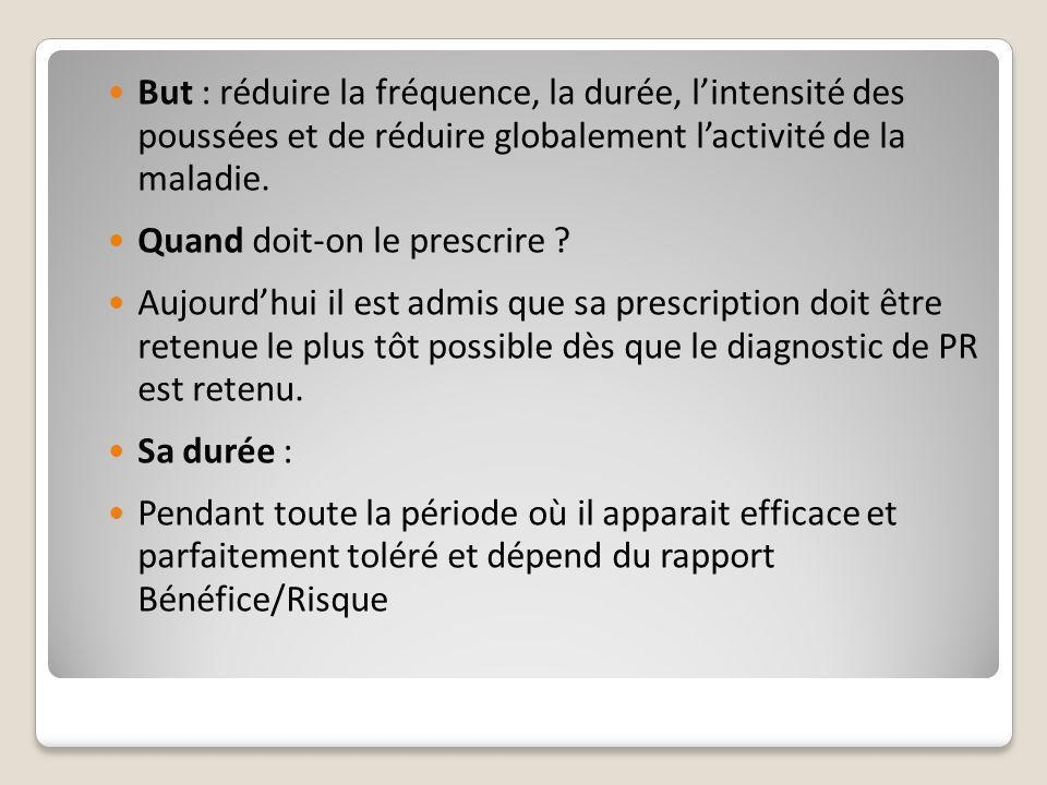 But : réduire la fréquence, la durée, l'intensité des poussées et de réduire globalement l'activité de la maladie.
