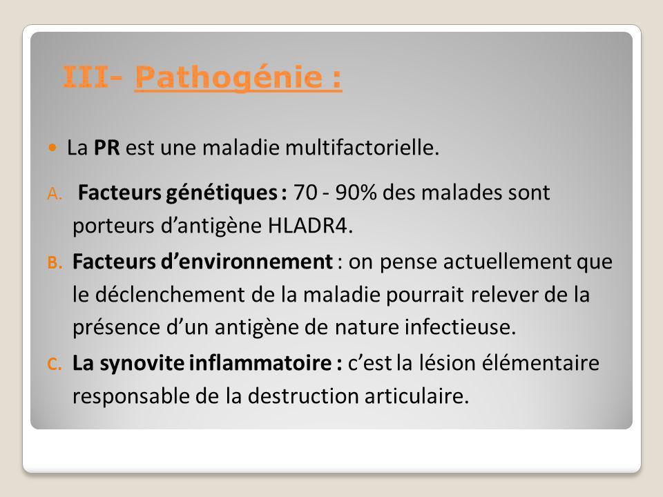 III- Pathogénie : La PR est une maladie multifactorielle.