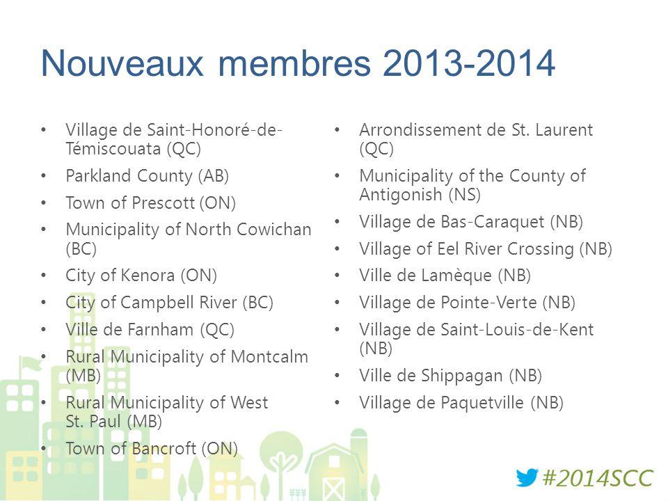 Nouveaux membres 2013-2014 Village de Saint-Honoré-de- Témiscouata (QC) Arrondissement de St. Laurent (QC)