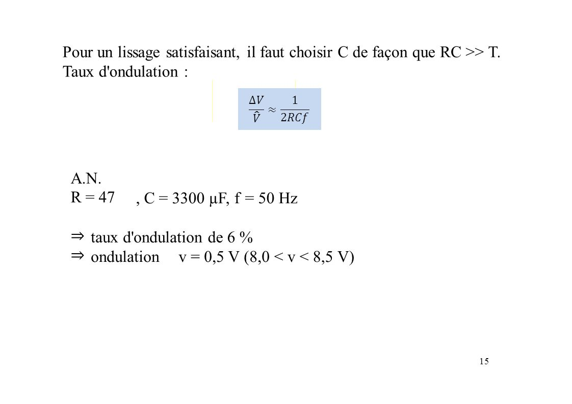 ⇒ Pour un lissage satisfaisant, il faut choisir C de façon que RC