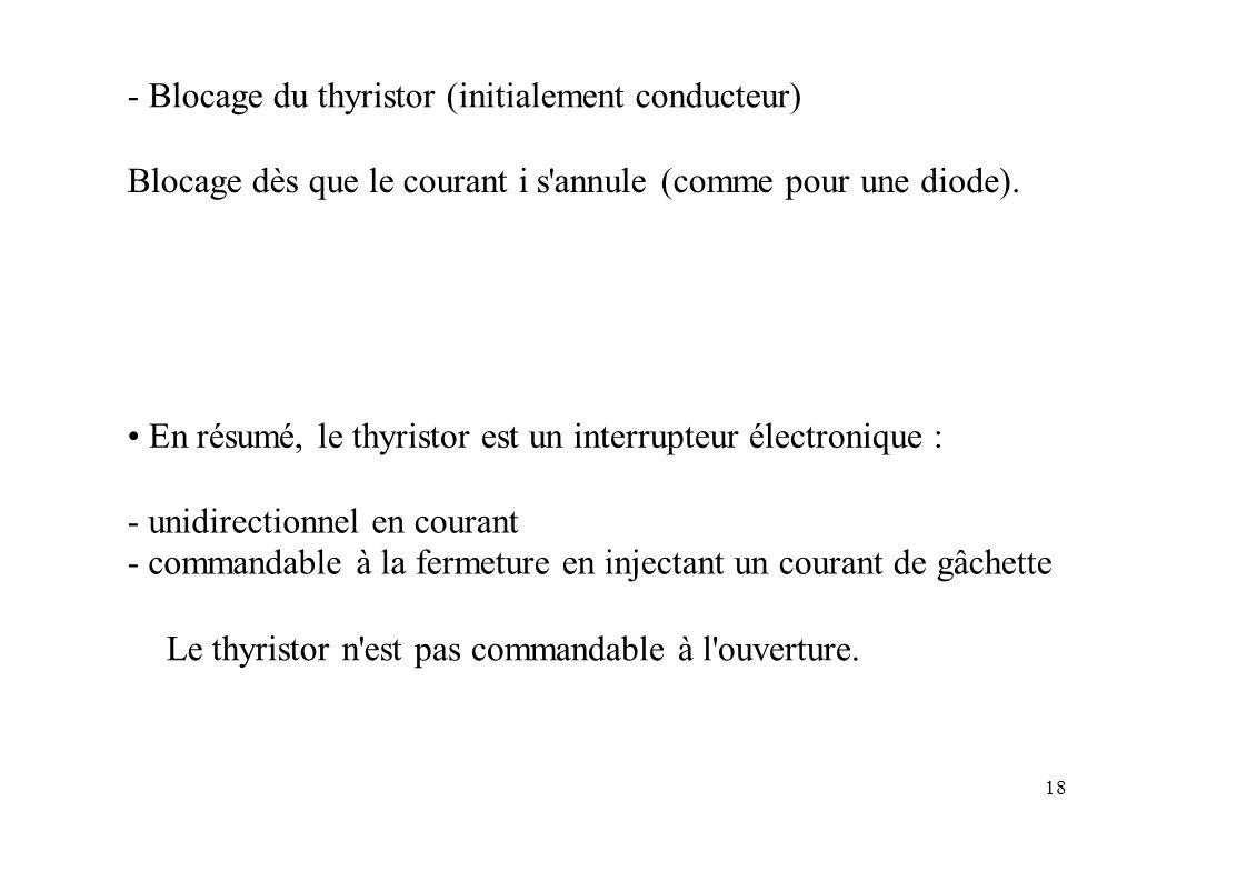 - Blocage du thyristor (initialement conducteur)