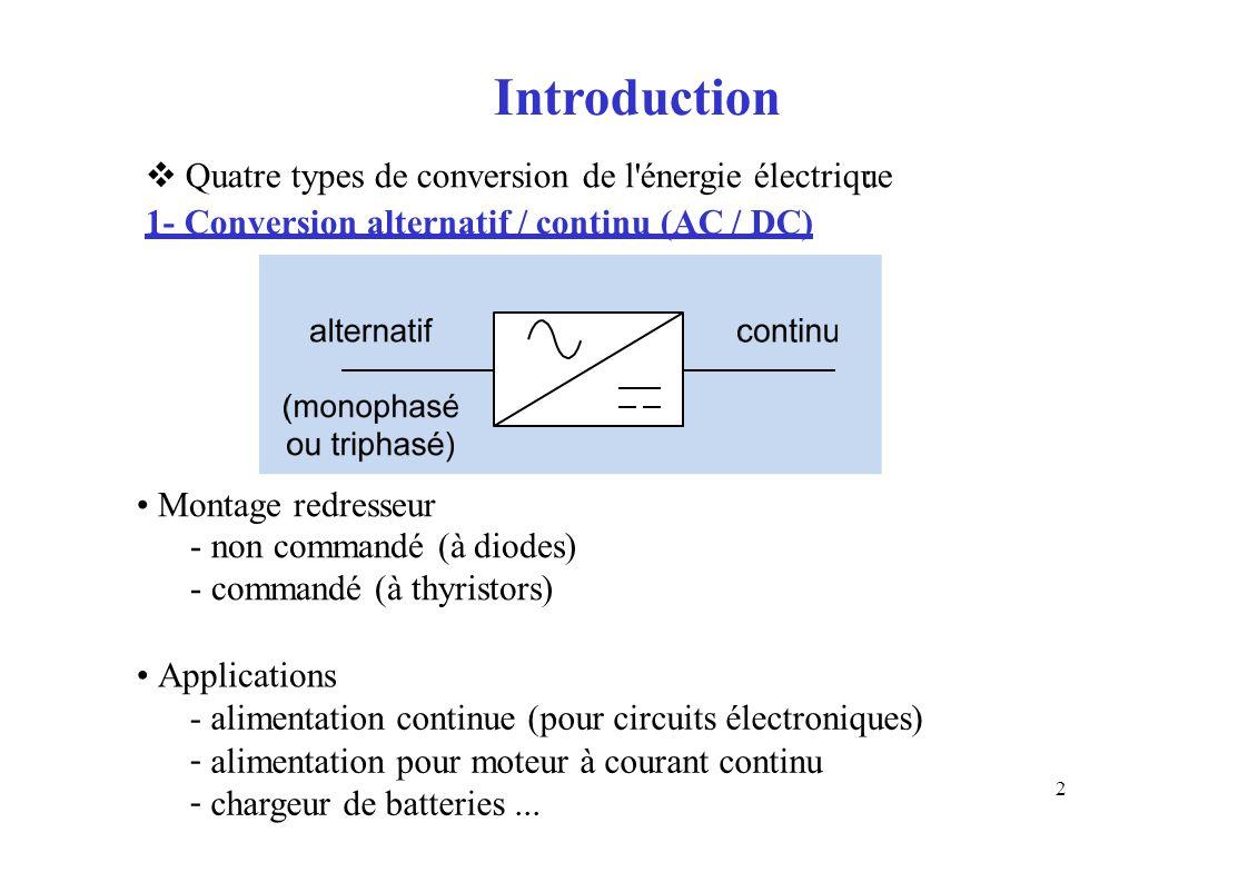 Introduction Quatre types de conversion de l énergie électrique