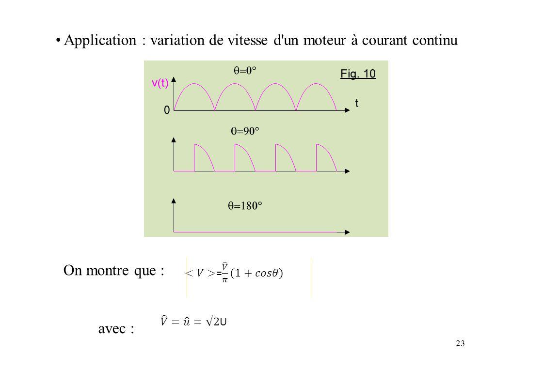 • Application : variation de vitesse d un moteur à courant continu