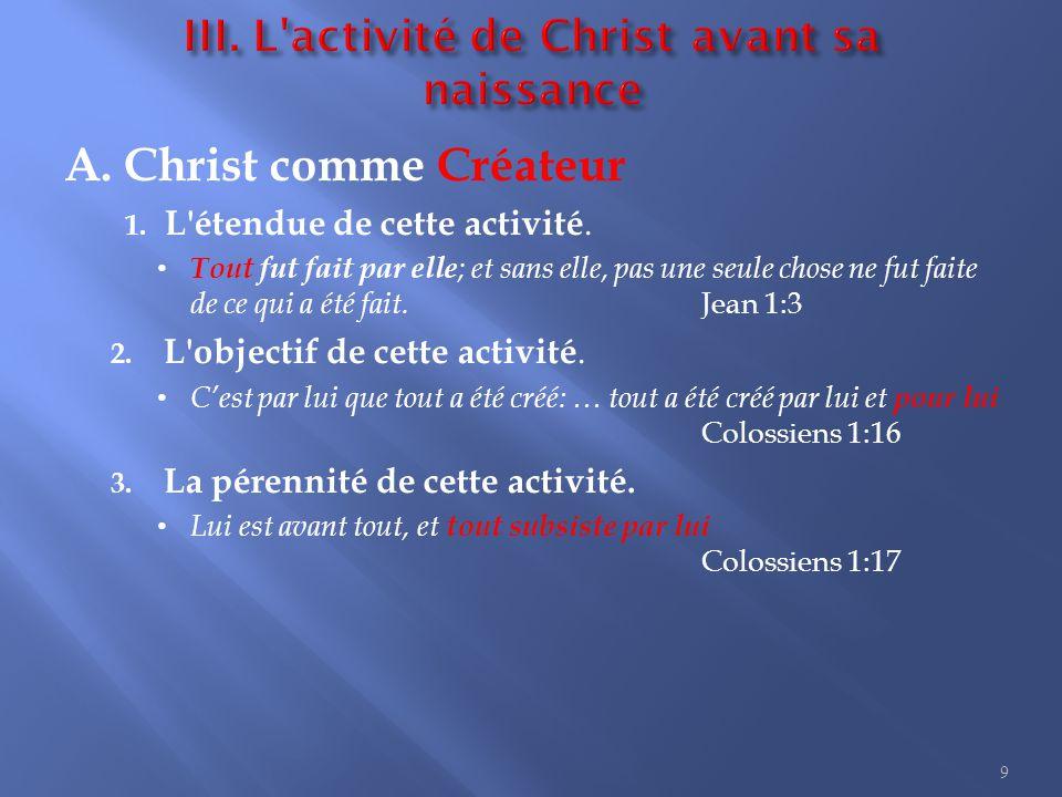 III. L activité de Christ avant sa naissance