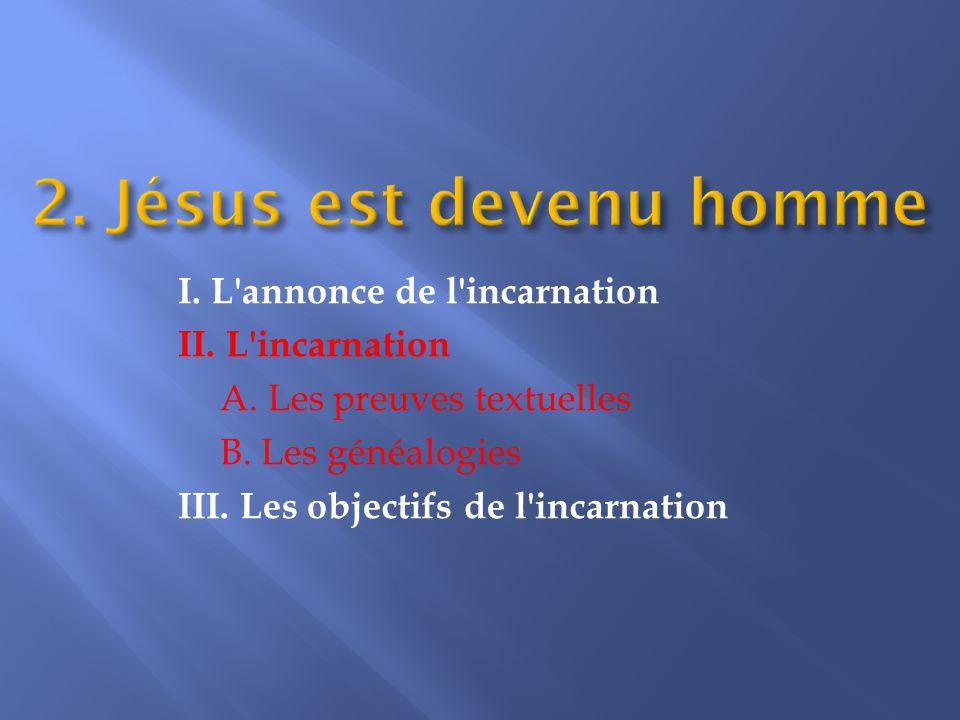 II. L incarnation A. Les preuves textuelles