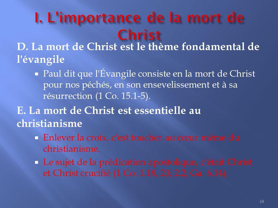 I. L importance de la mort de Christ