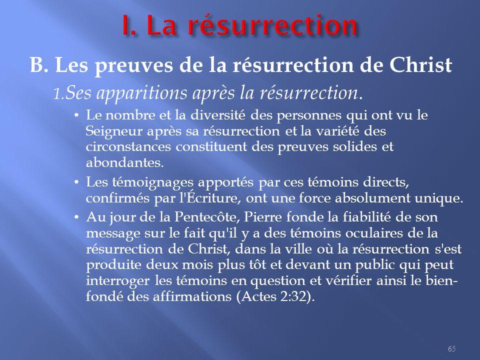 I. La résurrection L ordre des apparitions de Christ est le suivant :