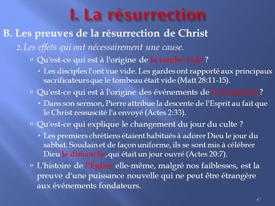 I. La résurrection C. Les conséquences de la résurrection de Christ