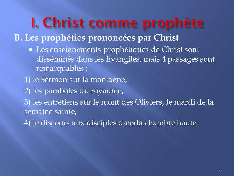I. Christ comme prophète