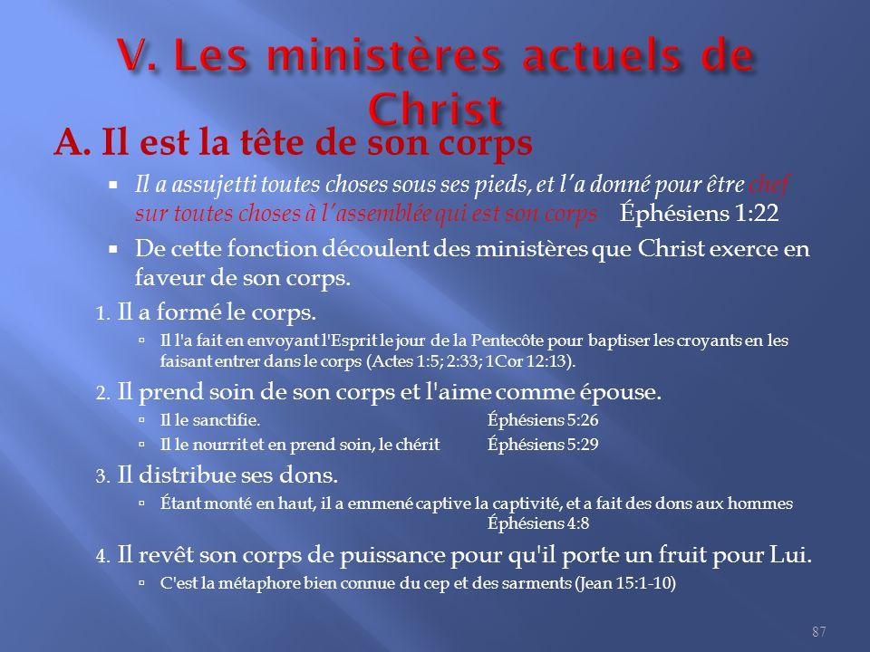 V. Les ministères actuels de Christ