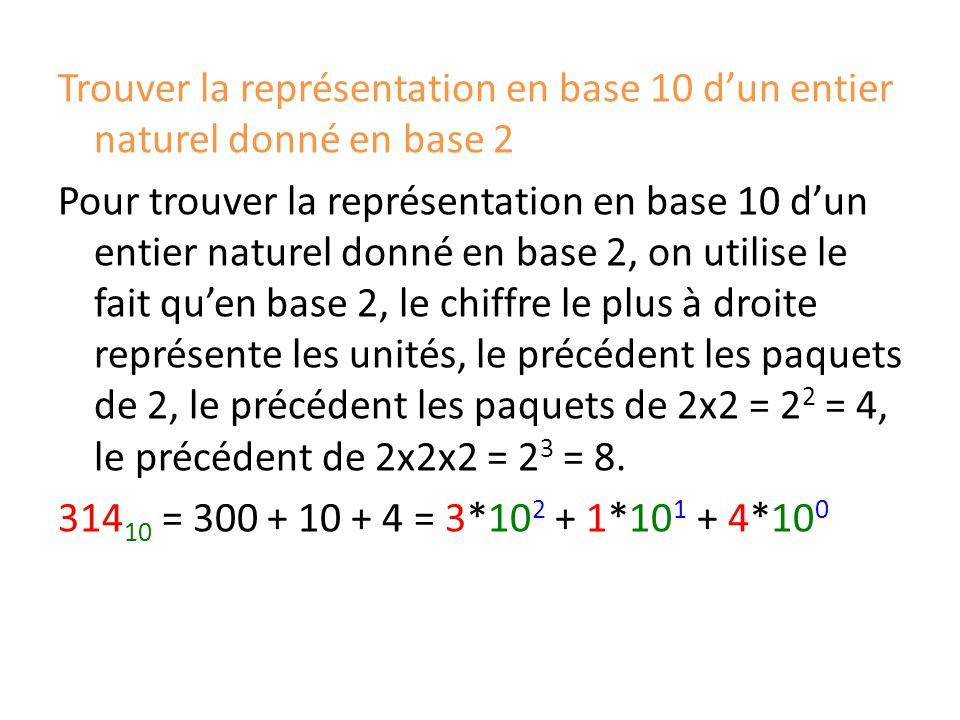 Trouver la représentation en base 10 d'un entier naturel donné en base 2 Pour trouver la représentation en base 10 d'un entier naturel donné en base 2, on utilise le fait qu'en base 2, le chiffre le plus à droite représente les unités, le précédent les paquets de 2, le précédent les paquets de 2x2 = 22 = 4, le précédent de 2x2x2 = 23 = 8.
