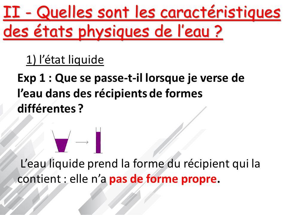 II - Quelles sont les caractéristiques des états physiques de l'eau