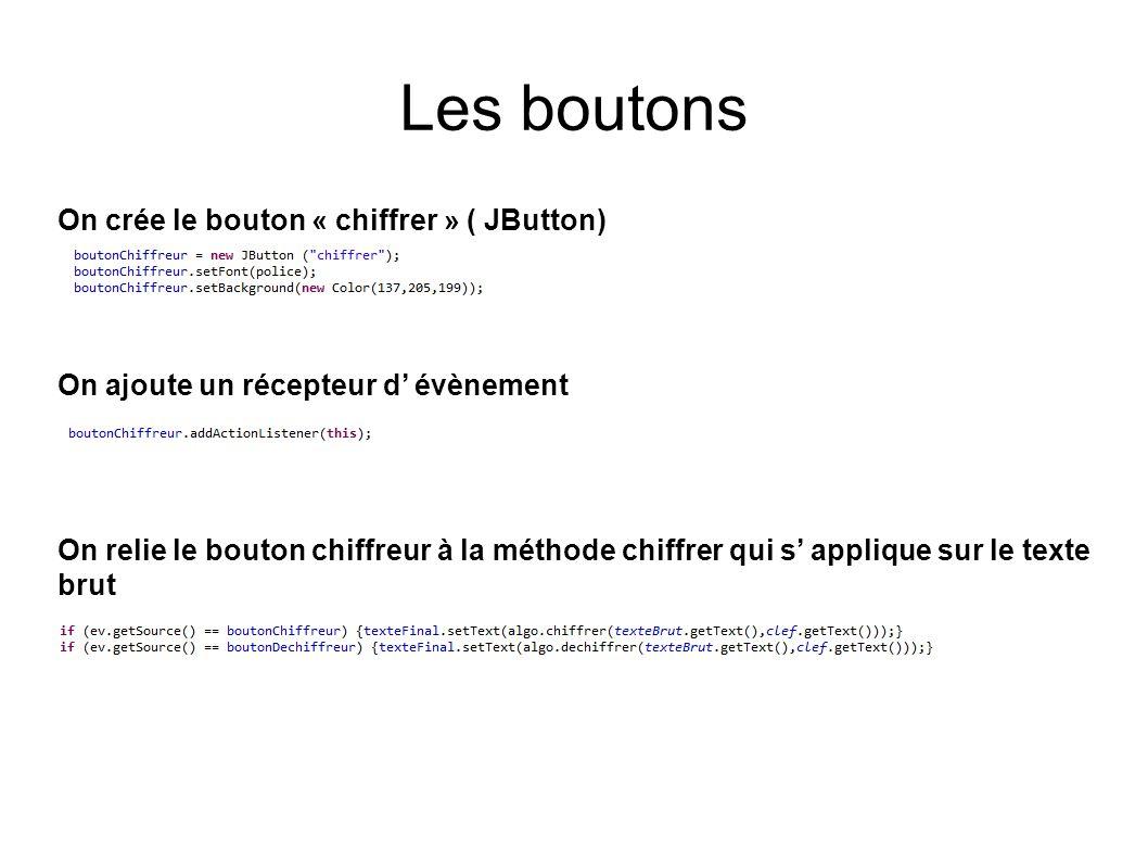 Les boutons On crée le bouton « chiffrer » ( JButton)