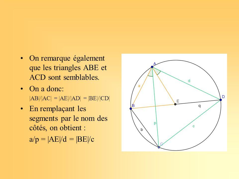 On remarque également que les triangles ABE et ACD sont semblables.