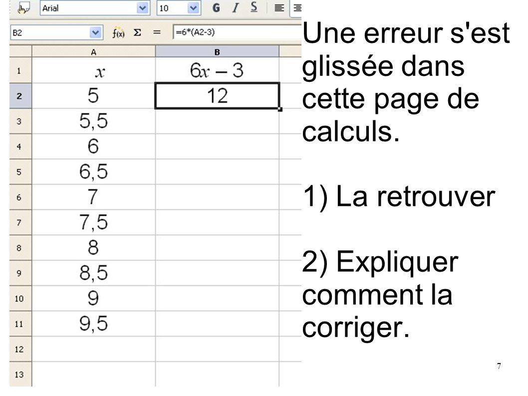 Une erreur s est glissée dans cette page de calculs