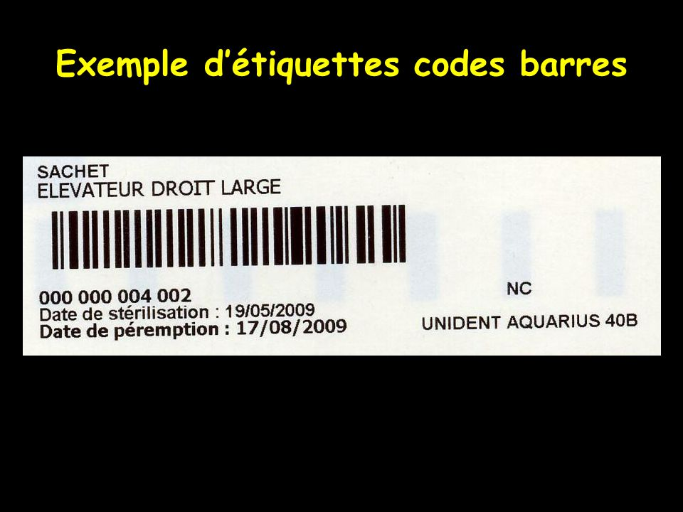 Exemple d'étiquettes codes barres