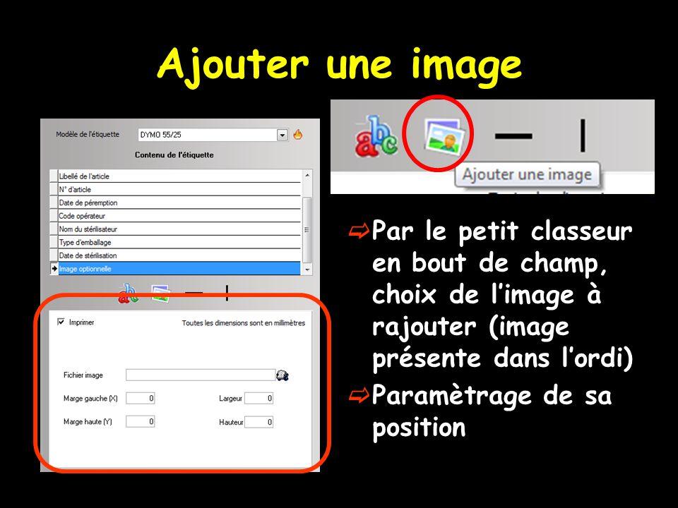 Ajouter une image Par le petit classeur en bout de champ, choix de l'image à rajouter (image présente dans l'ordi)