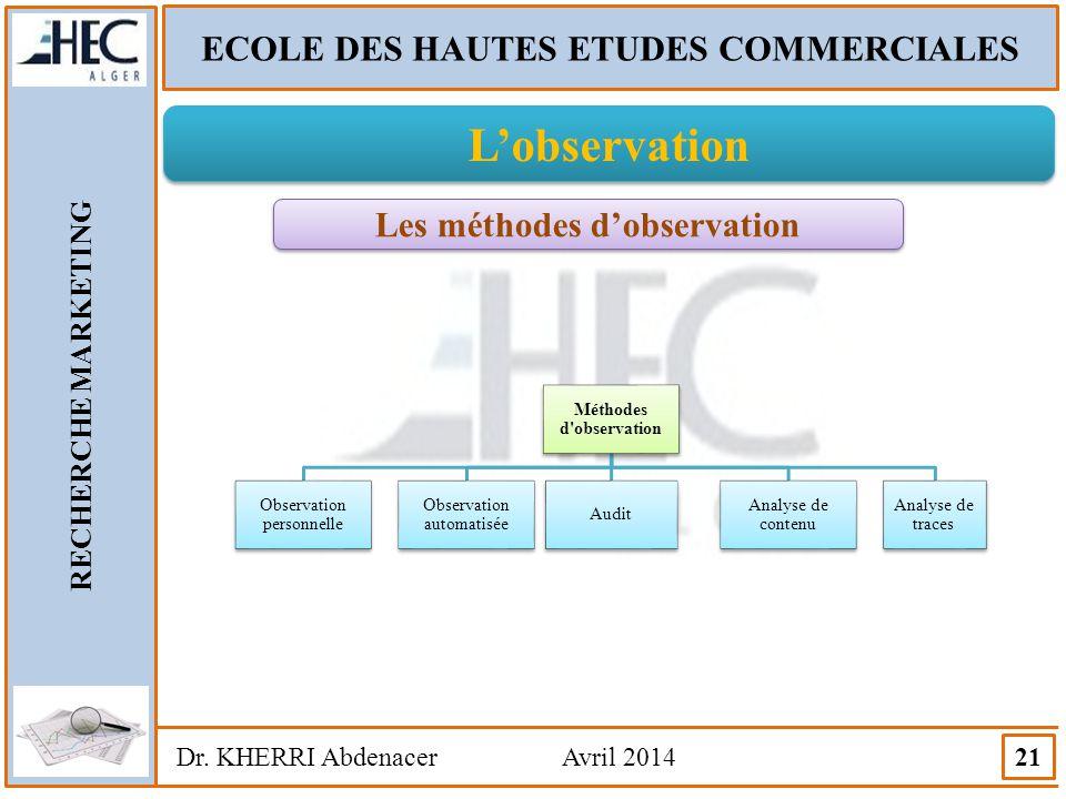 ECOLE DES HAUTES ETUDES COMMERCIALES Les méthodes d'observation