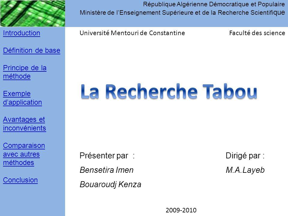 République Algérienne Démocratique et Populaire Ministère de l'Enseignement Supérieure et de la Recherche Scientifique
