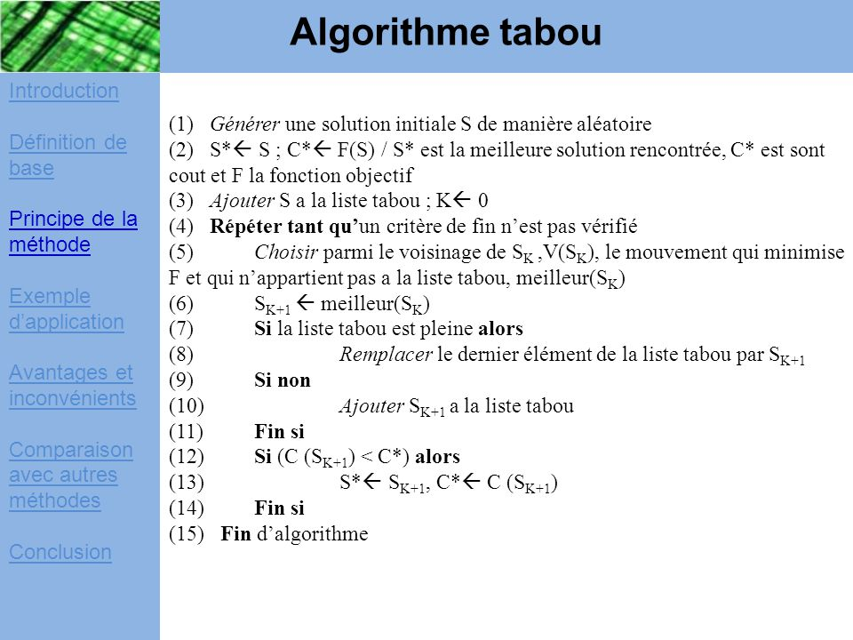 Algorithme tabou Introduction