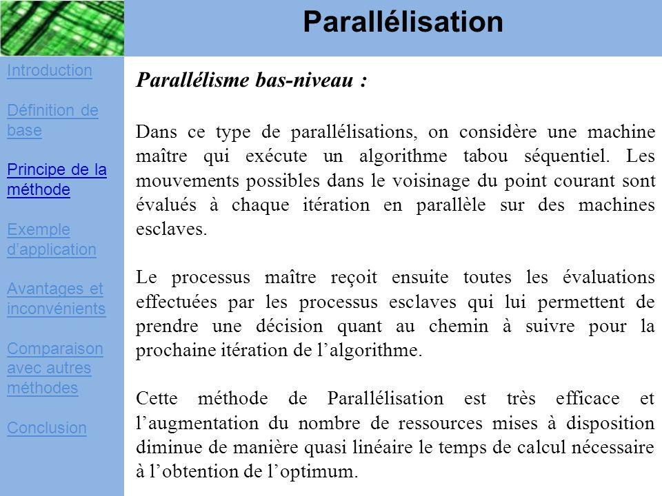 Parallélisation Parallélisme bas-niveau :