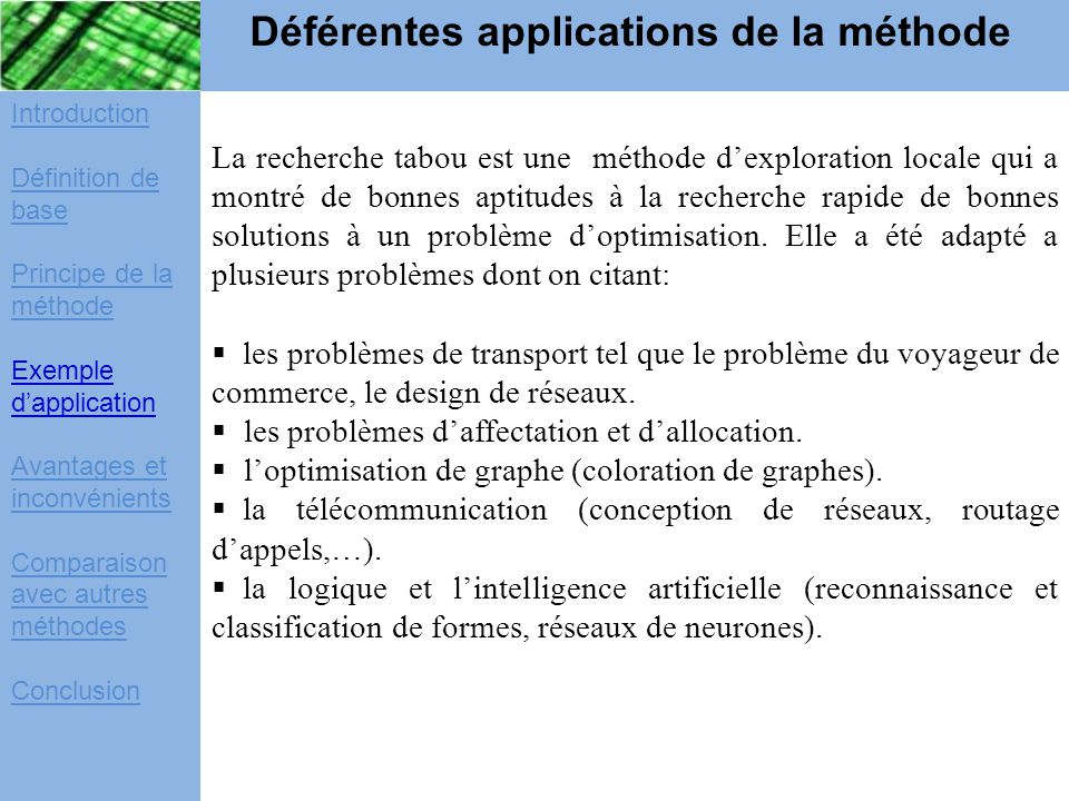 Déférentes applications de la méthode