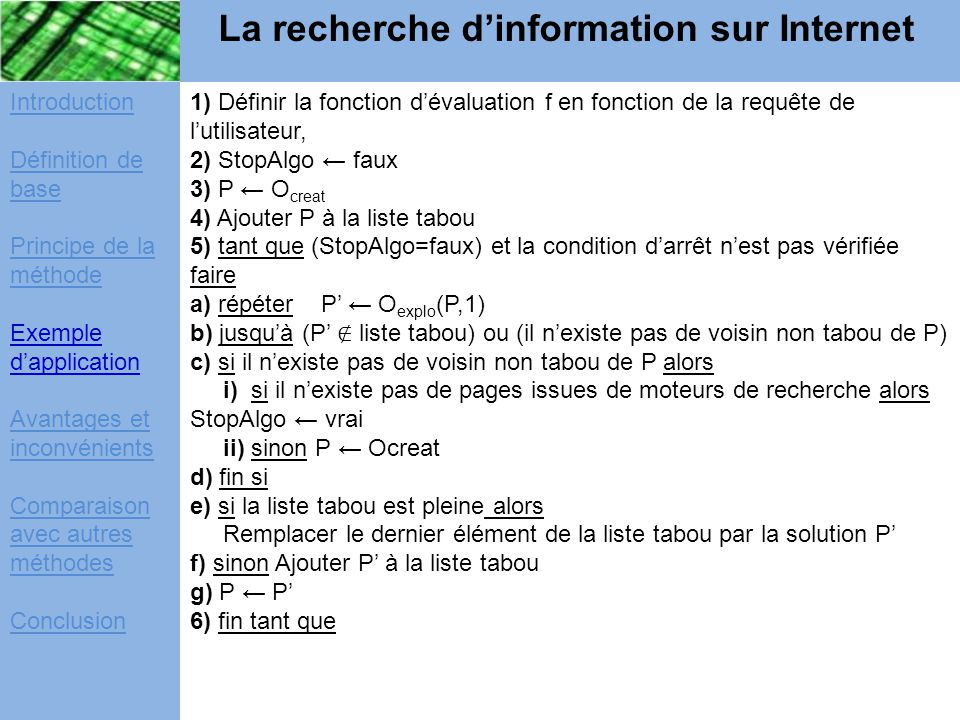 exemple d application de la recherche tabou