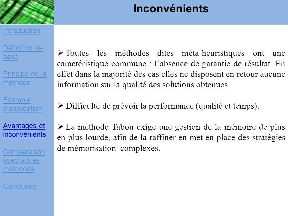 Inconvénients Introduction. Définition de base. Principe de la méthode. Exemple d'application. Avantages et inconvénients.
