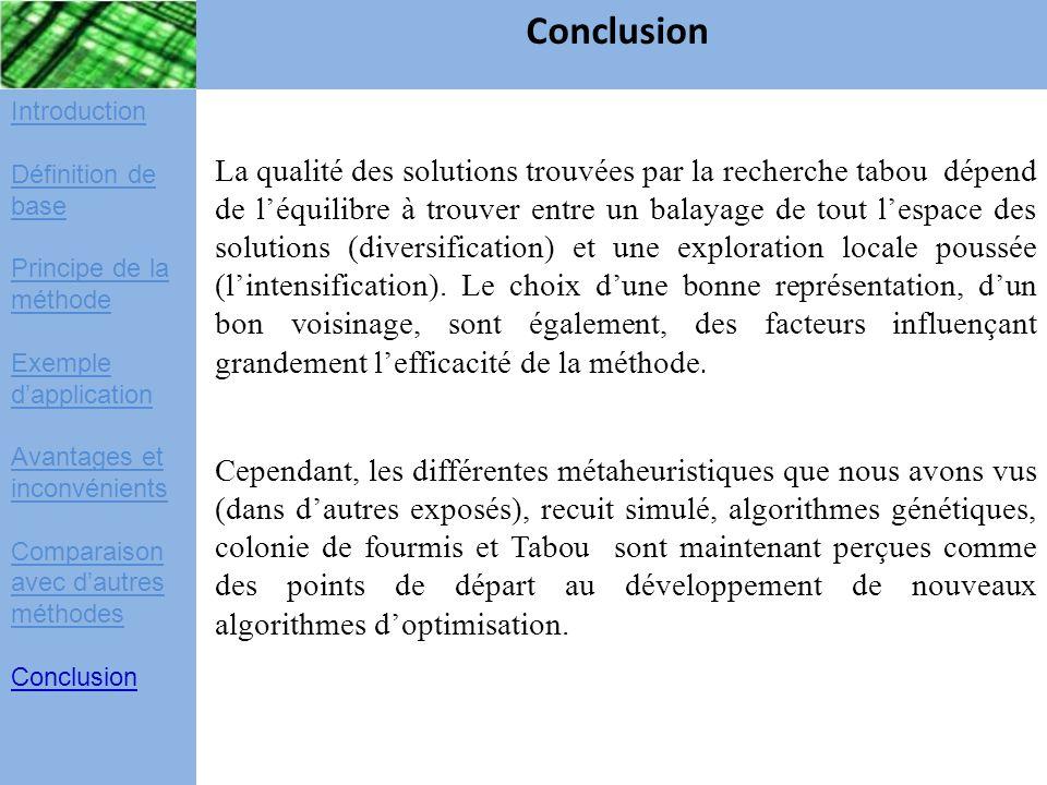 Conclusion Introduction. Définition de base. Principe de la méthode. Exemple d'application. Avantages et inconvénients.