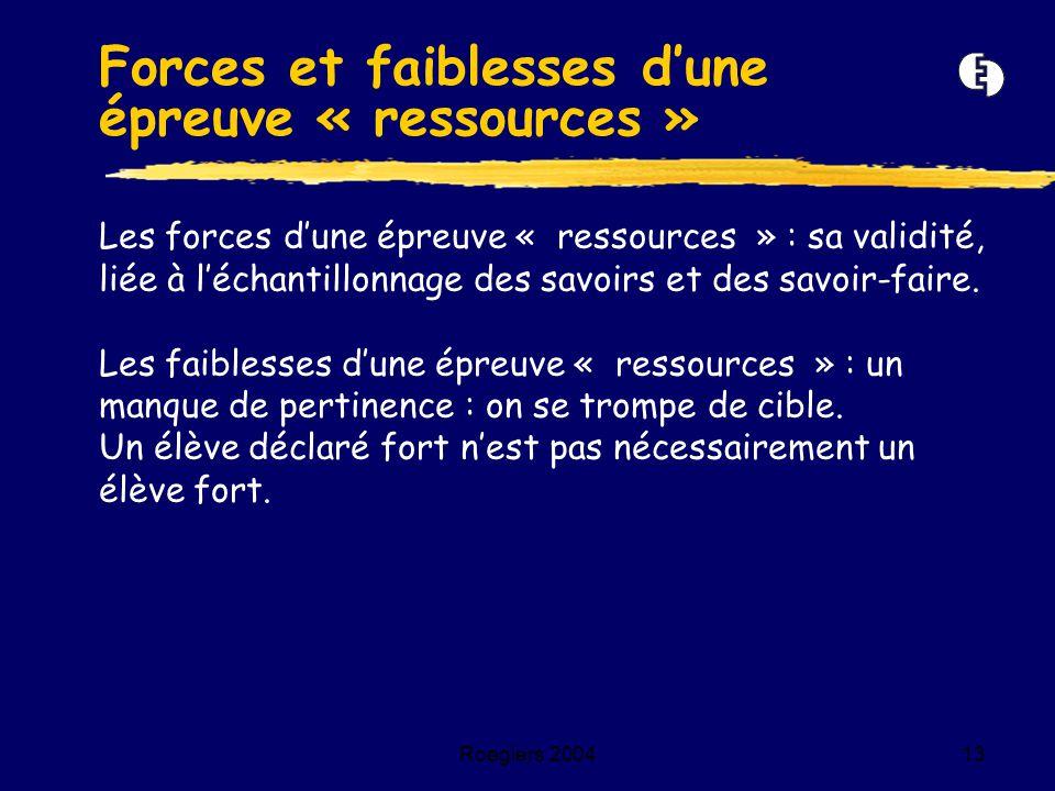 Forces et faiblesses d'une épreuve « ressources »