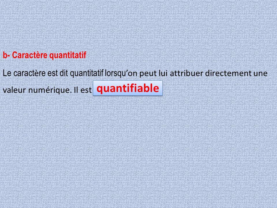 quantifiable b- Caractère quantitatif
