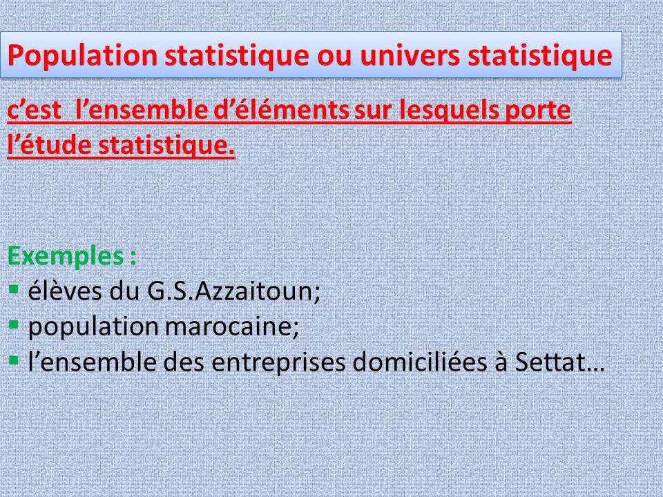 Population statistique ou univers statistique