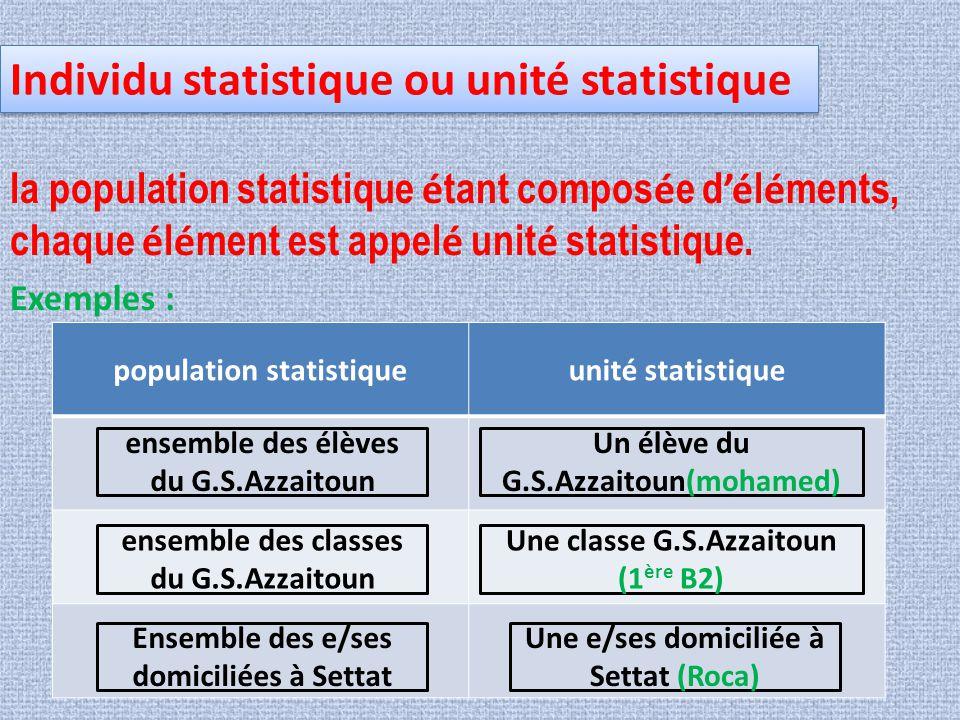 Individu statistique ou unité statistique