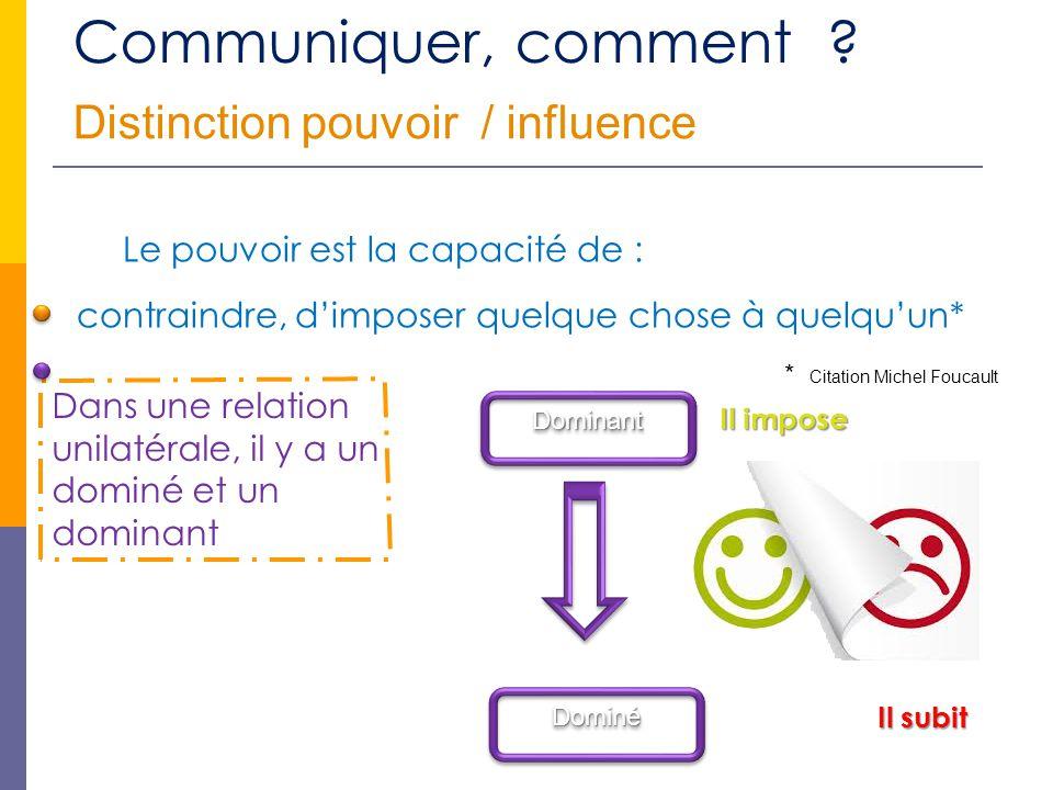 Communiquer, comment Distinction pouvoir / influence
