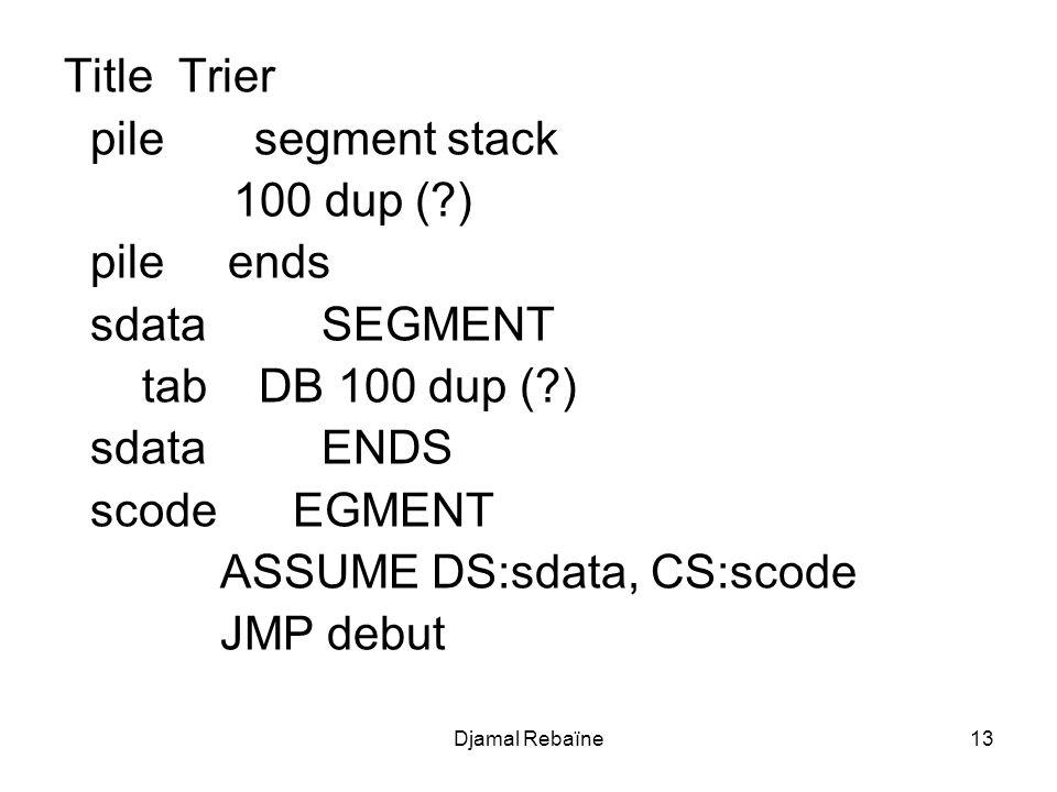 ASSUME DS:sdata, CS:scode JMP debut