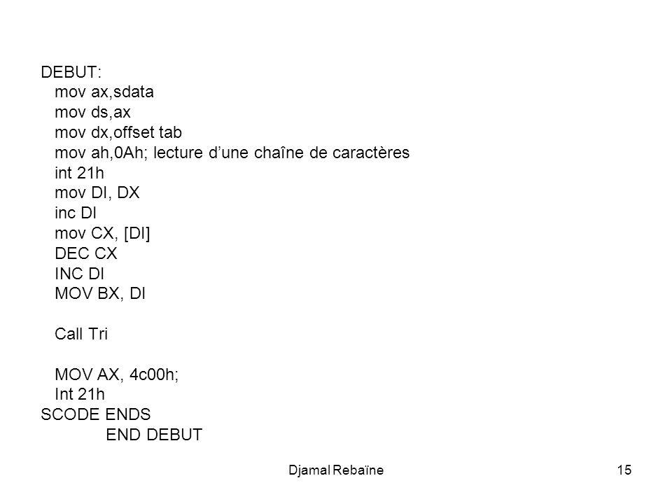 mov ah,0Ah; lecture d'une chaîne de caractères int 21h mov DI, DX