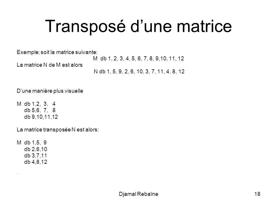 Transposé d'une matrice