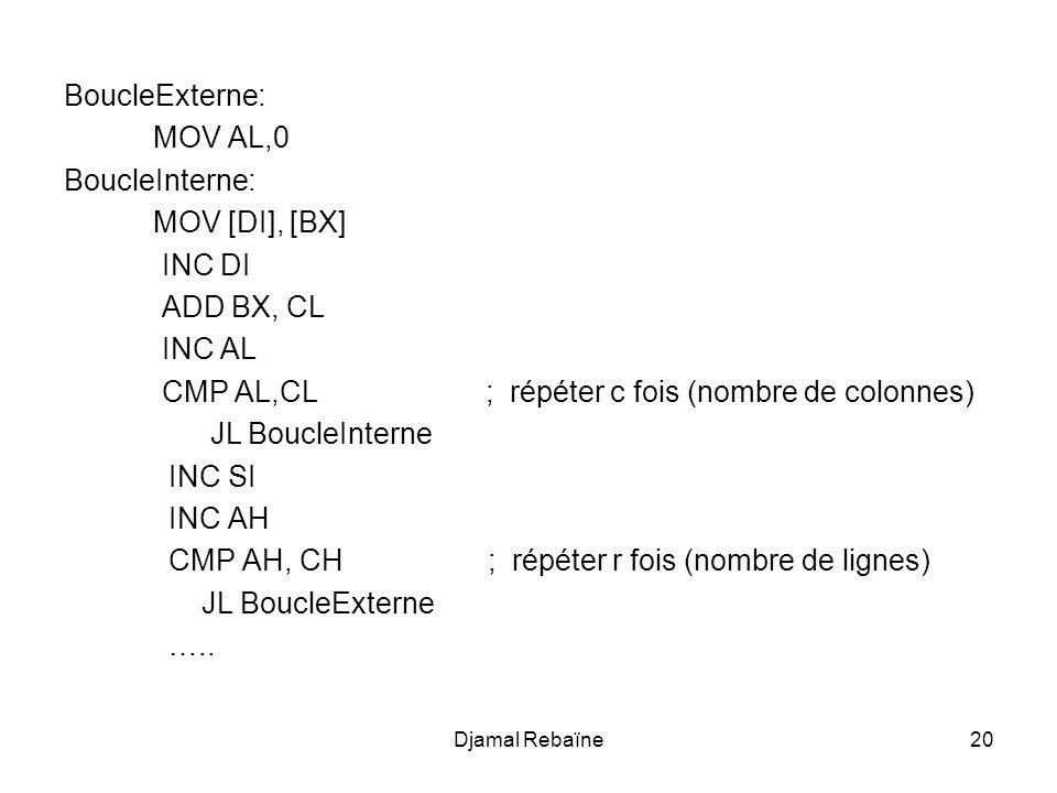 CMP AL,CL ; répéter c fois (nombre de colonnes) JL BoucleInterne