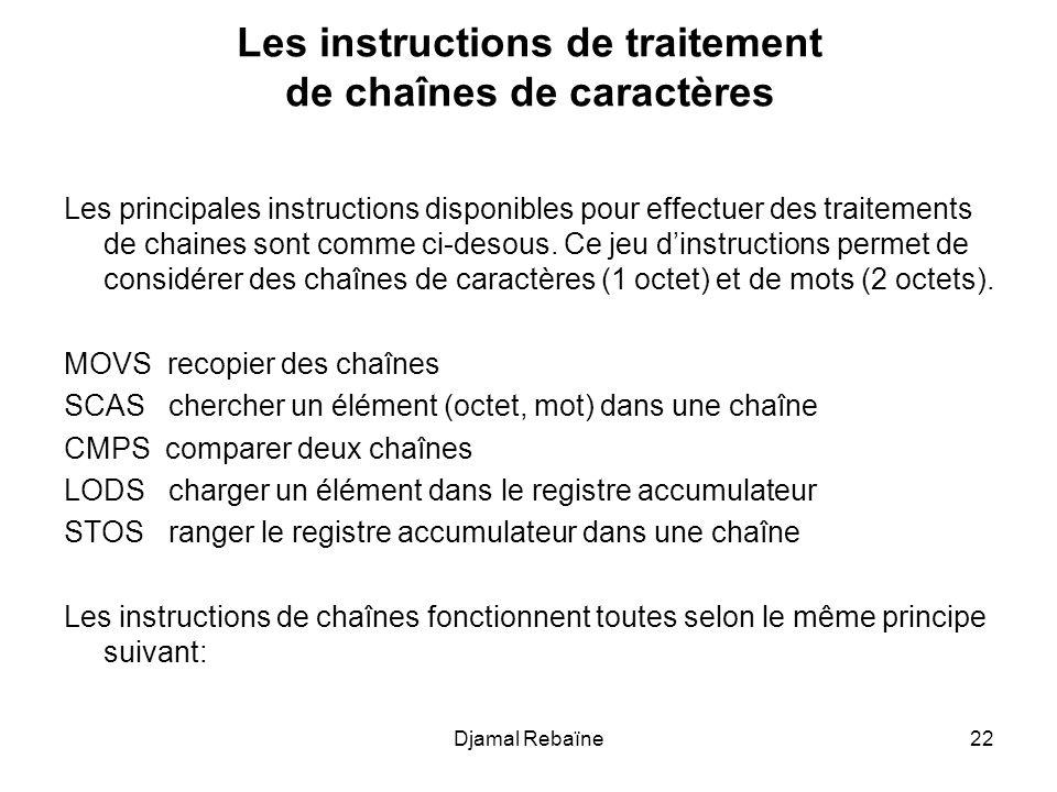 Les instructions de traitement de chaînes de caractères