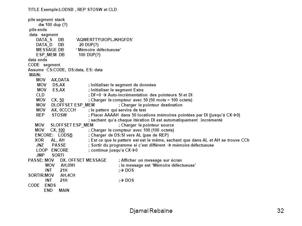 Djamal Rebaïne TITLE Exemple:LODSB , REP STOSW et CLD