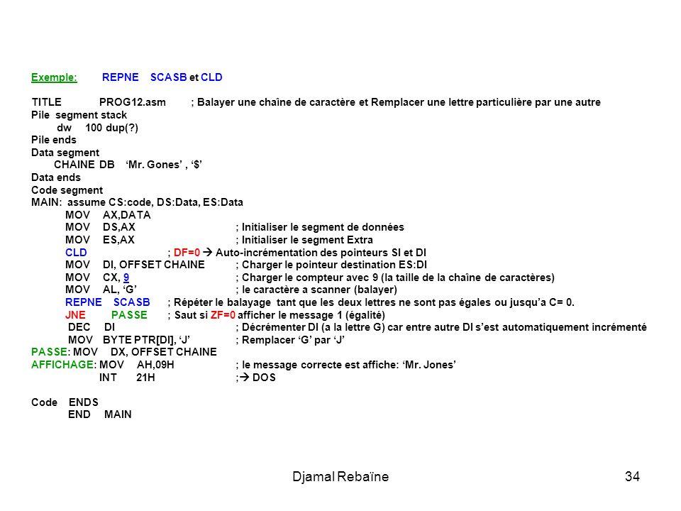 Djamal Rebaïne Exemple: REPNE SCASB et CLD