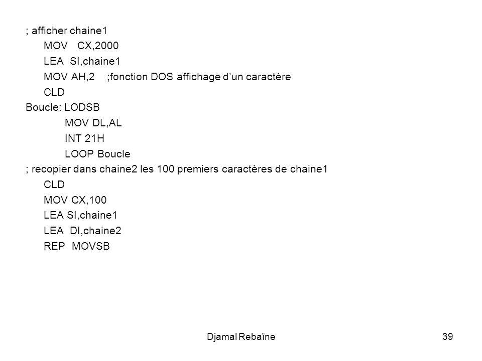 MOV AH,2 ;fonction DOS affichage d'un caractère CLD Boucle: LODSB